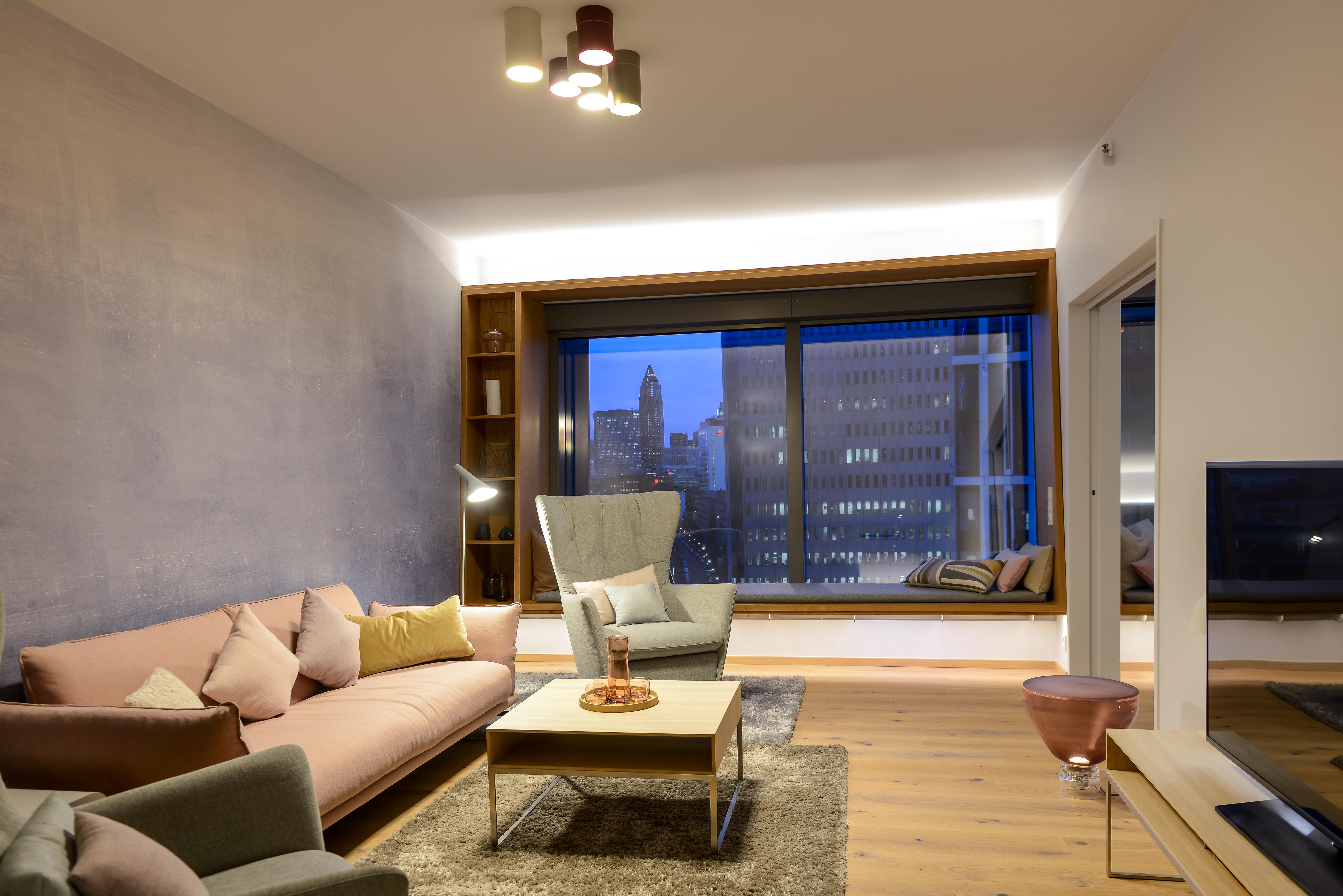 Beleuchtung der Trendsuiten im Radisson Blu Hotel,